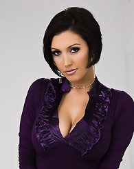 Photo set of sexy Dylan Ryder stripping out of a purple dress